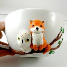 fox mug fox owl mug cute mug polymer clay red fox owl mug love