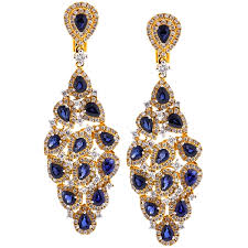 diamond chandelier earrings womens sapphire diamond chandelier earrings 18k yellow gold 8 0 ct