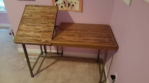 Diy Wood Desk by Pallet Wood Desk Diy Project Album On Imgur