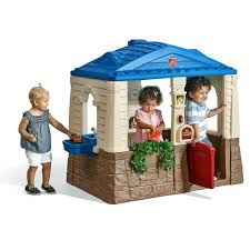 kids outdoor playhouse backyard fort cottage play kitchen sink