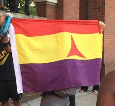 The Flag In Spanish Spotted At A Rally The Flag Of The International Brigades In The