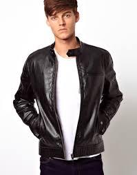 racing biker jacket asos faux leather biker jacket in black for men lyst