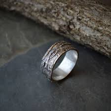 unique wedding ring tree bark ring chinkapin oak in sterling silver unique wedding