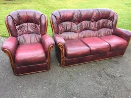 Pink Leather Chair by Oxblood Leather Sofa Set In Nottingham Nottinghamshire Gumtree