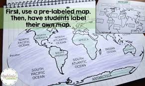 World Map Of Continents And Oceans To Label by 5 Ideas For Teaching Map Skills Appletastic Learning
