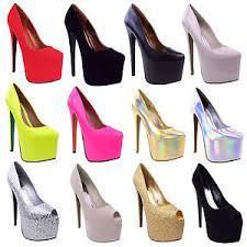 Womens Black Platform 7 Inch High Heel Stiletto Pumps Court Shoes