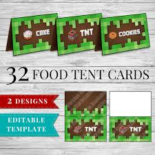 printable minecraft food tent cards perfect for your minecraft