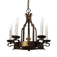 Brass Chandelier Spanish Revival Cast Brass Chandelier Antique Lighting