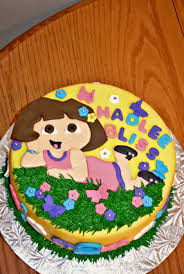 dora the explorer themed 2nd birthday cake dora is handcut from