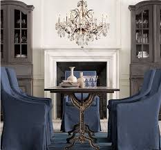 Restoration Hardware Bistro Table 4 Blue Slip Covered Chairs With A Bistro Table Chandelier