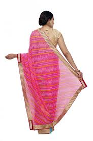 sudarshan colorful designer saree pink mys39 mn synthetic georgette
