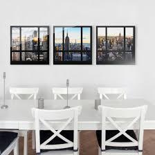Esszimmer New York Glasbild Mehrteilig Fensterblicke über New York 3 Teilig