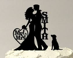 wedding cake topper with dog made in usa silhouette cake topper with pet dog 48 different