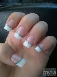 simple french manicure acrylic nails with two colored stripes myria