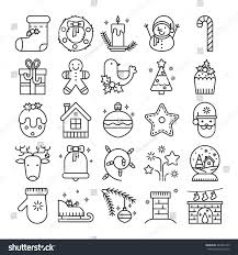 vector line icons christmas symbols objects stock vector 483526195