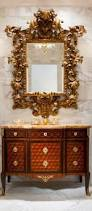 Powder Room Furniture Vanity Luxury Powder Room With Gorgeous Baroque Style Carved Mirror Above