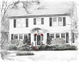 photo art of homes in watercolor or pencil drawing styles a great