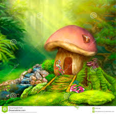 fantasy mushroom cottage house on a colorful meadow stock