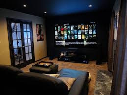 Projector Media Room - small media room ideas on a budget with l shape black leather sofa