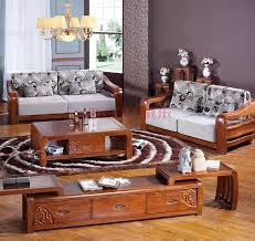 Chinese Living Room Congregation Wood Sofa Fabric Sofa Combination Suit Modern Chinese