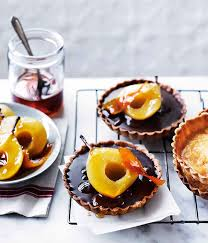 gourmet pears chocolate ganache tartlets with muscat poached pears gourmet