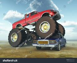 bigfoot monster truck driver monster truck driving over car computer generated stock