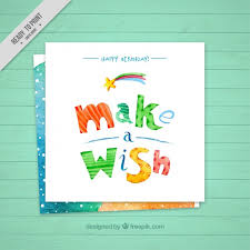 cute birthday card of make a wish vector free download
