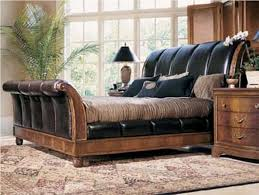 King Size Leather Bed Frame King Size Pu Leather Sleigh Bed Frame In Black Buy Pertaining To