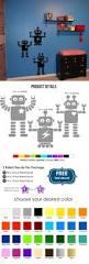 114 best flourish home decor images on pinterest handmade baby robots wall decal sticker robots decal for walls robot decal for children nursery modern robots decal setets50101