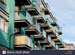Modern Apartment by Balconies Of Modern Apartment Block Islington London United