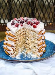 magnolia icebox cake gingersnap icebox cake with cranberry mascarpone whipped cream