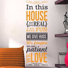 2 color family rules quotes wall decal saying words home decor