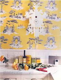 design house skyline yellow motif wallpaper double double toile and trouble the walkup