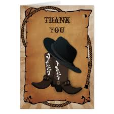 cowboy boots western theme thank you card zazzle