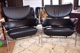 Vintage Leather Chairs For Sale Vintage Tre Pezzi Black Leather Armchairs By Franco Albini For