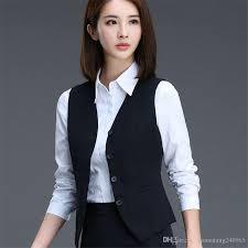 2017 fashion business career ladies vest work wear uniforms slim v
