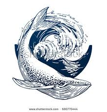 hand drawn blue whale vector round stock vector 680770444