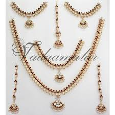white stones necklace set images Bharatanatyam jewellery 10 pcs white stone indian bridal wedding jpg