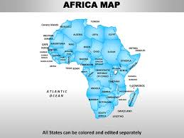 africa continent map africa editable continent map with countries