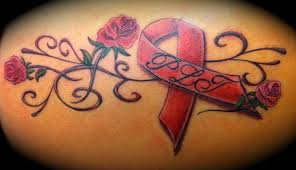 rose breast cancer ribbon leg tattoo design photo 2 2017 real