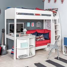 pull out desk stompa unos highsleeper with red sofa fixed desk