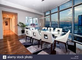 dining room in a steel and glass luxury condo highrise in austin