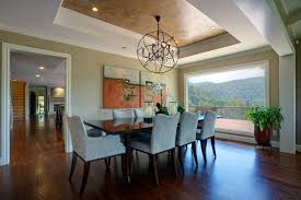 Tray Ceiling Dining Room - dark dining room dining room transitional with crystal chandelier