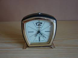 rare shape slava vintage russian mechanical alarm clock black