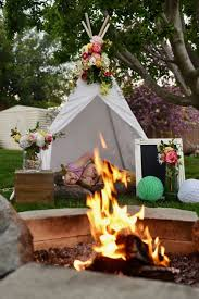 Backyard Teepee Boho Party With Lovely Teepee Flowers And Rustic Woodland