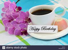 happy birthday card with pink orchid stock photo royalty free