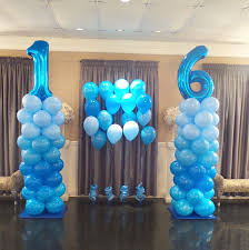 balloons delivered to your door sweet 16 blue ombre balloon columns balloon columns