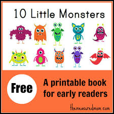 10 monsters free printable book early readers