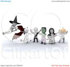 halloween headless horseman costume royalty free rf clipart illustration of a group of 3d white