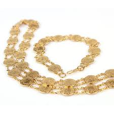 chain set necklace bracelet images Coin shaped chain jewelry 24k yellow gold filled mens womens jpg